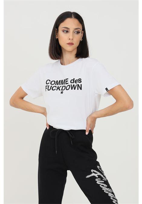 T-shirt donna bianco nero comme des fuckdown a manica corta con logo frontale COMME DES FUCKDOWN   T-shirt   CDFD1343BIANCO/NERO