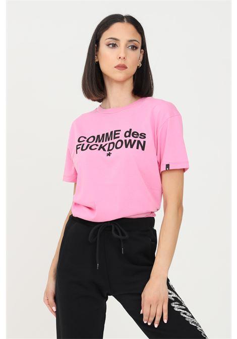 T-shirt donna fucsia comme des fuckdown a manica corta con logo frontale COMME DES FUCKDOWN   T-shirt   CDFD1343BUBBLE