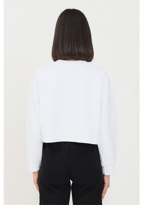 White women's sweatshirt by comme des fuckdown with short cut COMME DES FUCKDOWN | Sweatshirt | CDFD1350BIANCO/NERO