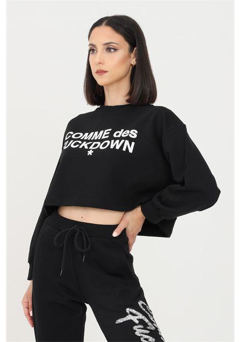 Black women's sweatshirt by comme des fuckdown with short cut COMME DES FUCKDOWN | Sweatshirt | CDFD1350NERO/BIANCO