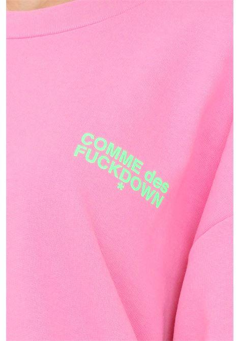 Fuchsia unisex sweatshirt by comme des fuckdown with fluo logo COMME DES FUCKDOWN | Sweatshirt | CDFU1107BUBBLE