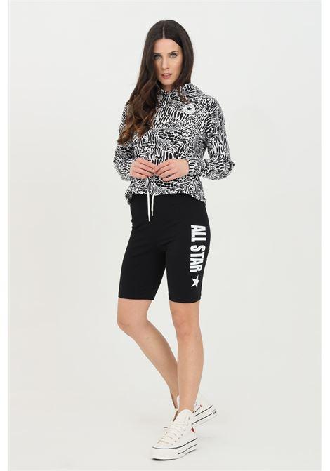 Shorts donna nero Converse sport modello corto in cotone con stampa laterale. Slim fit CONVERSE | Shorts | 10022590-A01A01