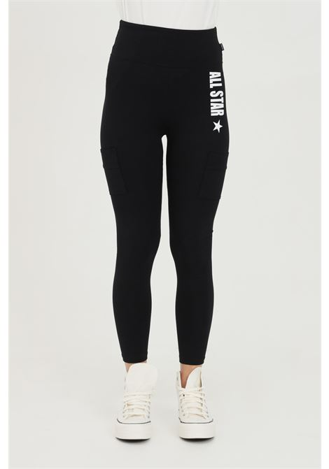 Black leggings in cotton with side print. Slim fit. Converse  CONVERSE | Leggings | 10022592-A01A01