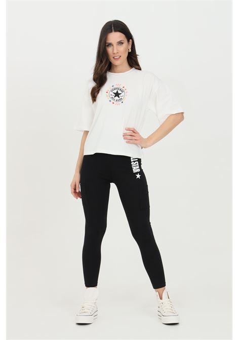 Leggings donna nero Converse in cotone con stampa laterale. Slim fit CONVERSE | Leggings | 10022592-A01A01