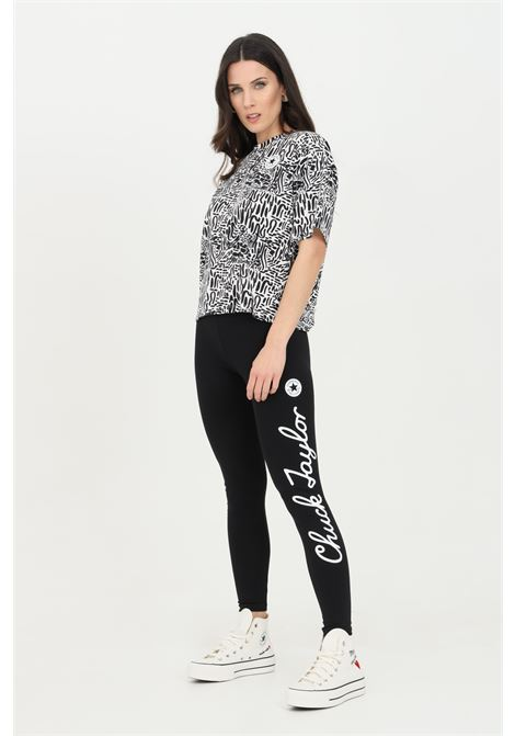Black leggings in cotton with side print. Slim fit. Converse CONVERSE | Leggings | 10022600-A01A01
