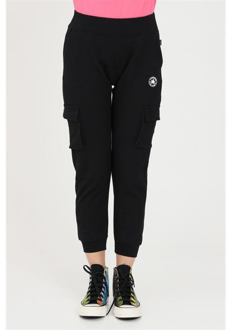 Pantaloni donna nero Converse casual con tasche laterali, banda elastica in vita e polsini elastici. Mini logo laterale CONVERSE | Pantaloni | 10022601-A02A02