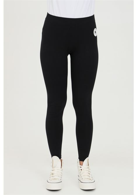 Leggings donna nero Converse in cotone con stampa laterale. Slim fit CONVERSE | Leggings | 10022604-A01A01