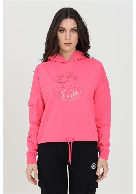 Felpa donna rosa Converse con cappuccio e tasca sulla manica destra CONVERSE | Felpe | 10022635-A02A02