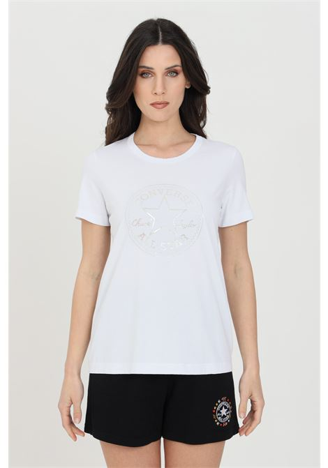 White chuck iridescent woman t-shirt with short sleeves and print. Crew neck model. Converse CONVERSE | T-shirt | 10022643-A01A01