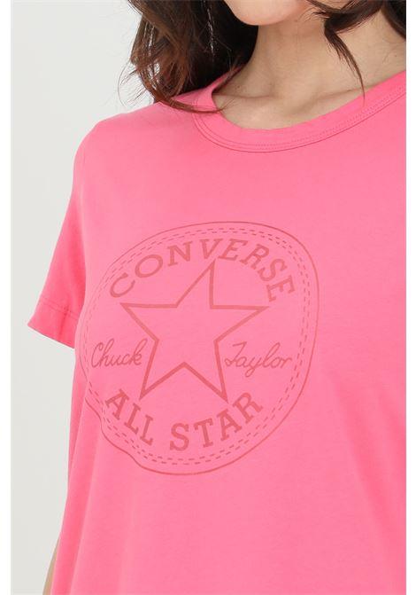 T-shirt chuck iridescent donna rosa Converse manica corta. Modello a girocollo con stampa CONVERSE | T-shirt | 10022643-A03A03