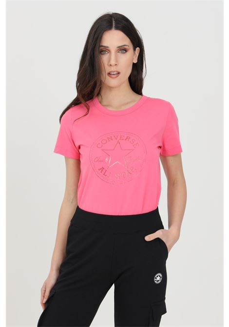 Pink chuck iridescent woman t-shirt with short sleeves and print. Crew neck model. Converse CONVERSE | T-shirt | 10022643-A03A03