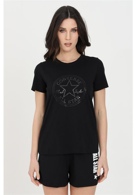 T-shirt chuck iridescent donna nero Converse manica corta. Modello a girocollo con stampa CONVERSE | T-shirt | 10022643-A04A04