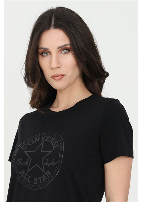 Black chuck iridescent woman t-shirt with short sleeves and print. Crew neck model. Converse CONVERSE | T-shirt | 10022643-A04A04