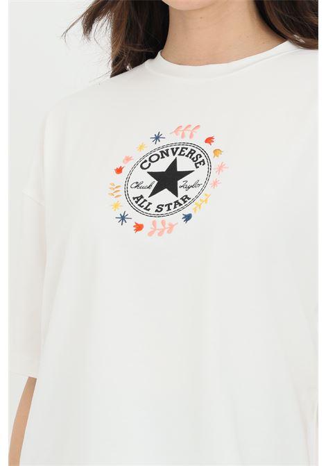T-shirt chuck taylor wander boxy tee donna bianco manica corta. Logo frontale. CONVERSE | T-shirt | 10022649-A01A01