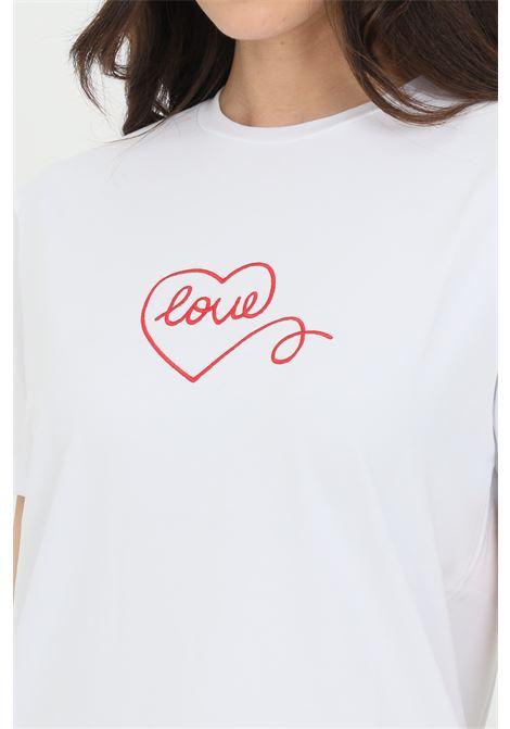 T-shirt Chuck Taylor Love Boyfriend Tee donna bianco converse a manica corta in tinta unita con stampa frontale CONVERSE | T-shirt | 10022760-A01A01
