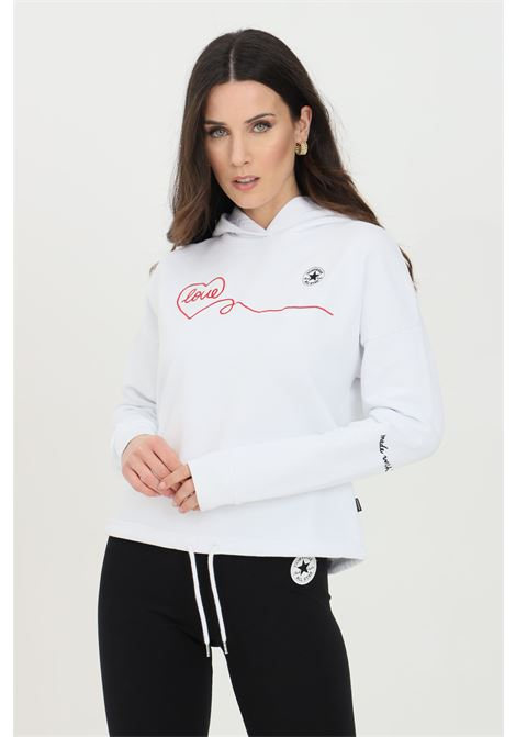 White Chuck Taylor Love Hoodie with front print and drawstring. Converse  CONVERSE | Sweatshirt | 10022761-A01A01