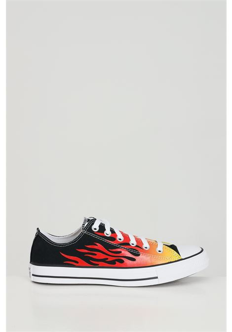 Black sneakers with shiny flame print, rubber sole and round toe, closure with laces. Converse CONVERSE | Sneakers | 166259C.
