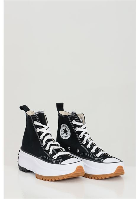 Black RUN STARHIKE HI sneakers in solid color with high rubber sole and round toe, closure with laces. Converse   CONVERSE | Sneakers | 166800CC450