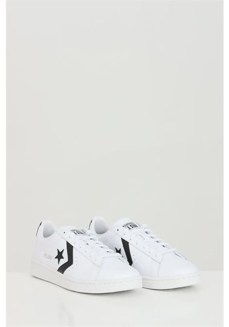 White Pro Leather Low Top Shoe sneakers in solid color with side contrasting print, rubber sole and round toe, closure with laces. Converse   CONVERSE | Sneakers | 167237C.