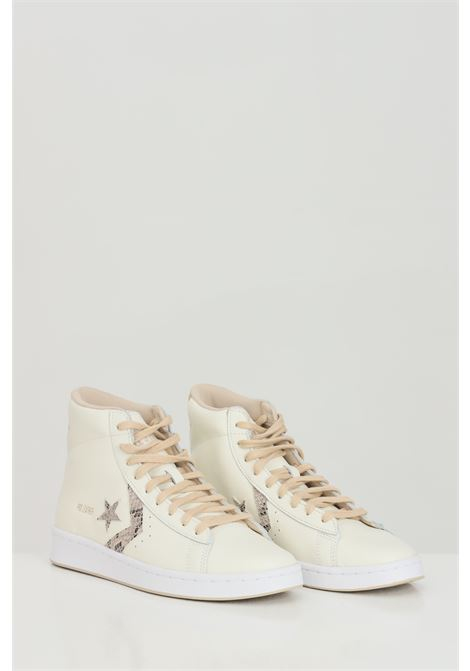 Beige PRO LEATHER HI sneakers in solid color with applications, boot model with rubber sole and round toe, closure with laces. Converse  CONVERSE | Sneakers | 170497C.