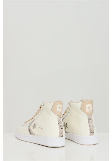 Sneakers PRO LEATHER HI donna beige converse in tinta unita con applicazioni modello stivaletto con suola in gomma e punta tonda, chiusura con lacci CONVERSE | Sneakers | 170497C.