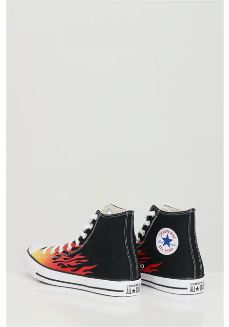Black-red CHUCK TAYLOR ALL STAR sneakers with flame print, rubber sole and round toe, closure with laces. Boot model. Converse  CONVERSE | Sneakers | 171130C.