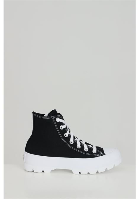 Black chuck taylor all star sneakers in solid color, closure with laces, rubber sole and round toe, boot model. Converse   CONVERSE | Sneakers | 565901C.