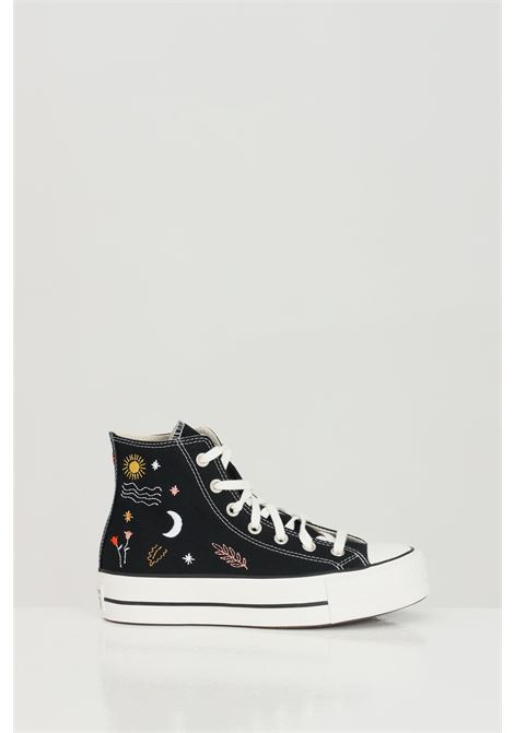 Black CTAS LIFT HI sneakers with multicolor print, boot model with high rubber sole and round toe, boot model. Converse CONVERSE | Sneakers | 571085C.