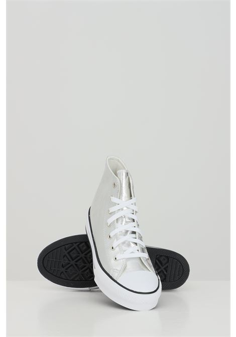 Silver sneakers with laces closure, boot model with high para and round toe. Baby model.  Converse CONVERSE | Sneakers | 670547C.