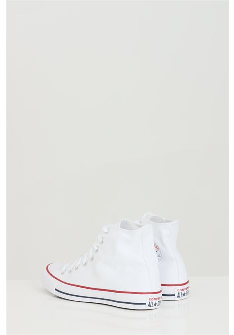 White ALL STAR HI OPTICA sneakers in solid color with rubber sole and colored bands, boot model and closure with laces. Converse  CONVERSE | Sneakers | M7650C.