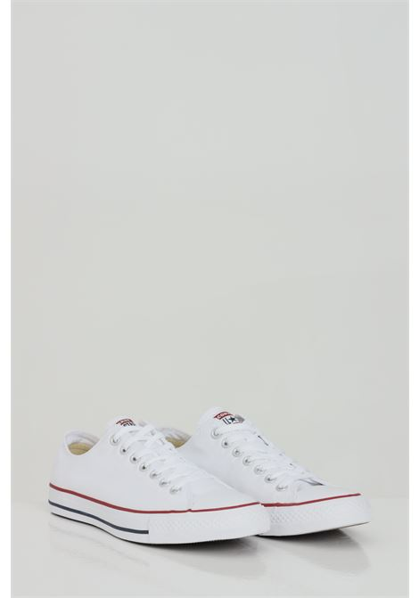 White ALL STAR HI OPTICA sneakers in solid color with rubber sole and colored bands, closure with laces. Converse CONVERSE | Sneakers | M7652C.