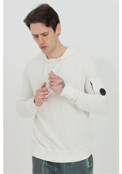 White cotton crepe bouclé hooded sweater. C.p. company  C.P. COMPANY | Sweatshirt | 10CMKN136A-006045A103