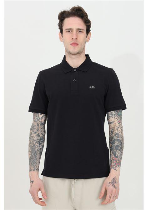 Polo uomo nera cp company con bottoni e logo frontale a contrasto, manica corta. Modello slim C.P. COMPANY | Polo | 10CMPL067A-005263W999