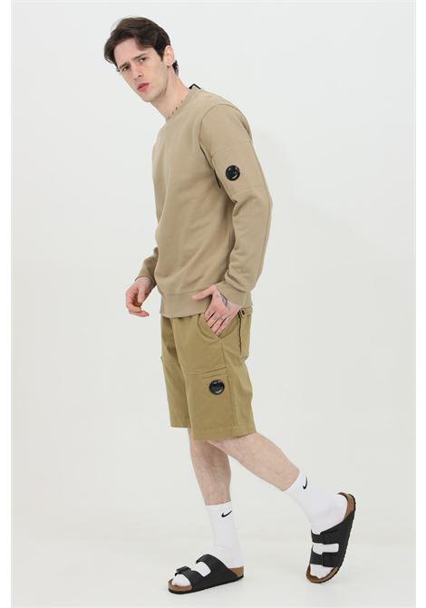 Felpa uomo beige cp company, modello girocollo con taschino laterale con zip e fondo e polsini elastici a costine C.P. COMPANY | Felpe | 10CMSS045A-005086W329
