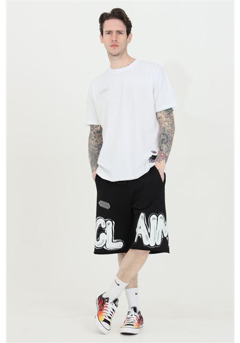 Shorts uomo tinta unita Disclaimer casual con fondo sfrangiato e molla in vita DISCLAIMER | Shorts | 21EDS50615NERO/BIANCO