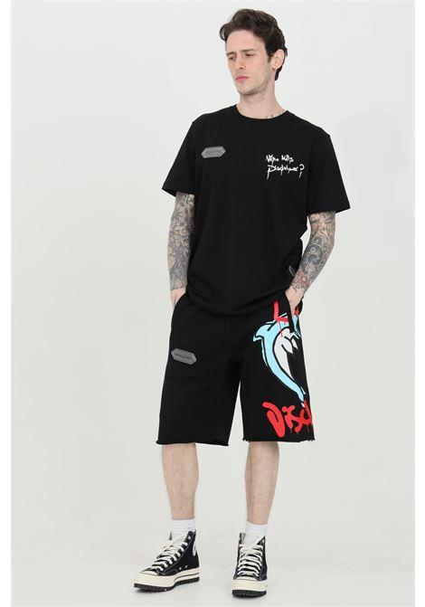 Shorts uomo nero Disclaimer casual con stampa stile graffiti sul fronte DISCLAIMER | Shorts | 21EDS50623NERO