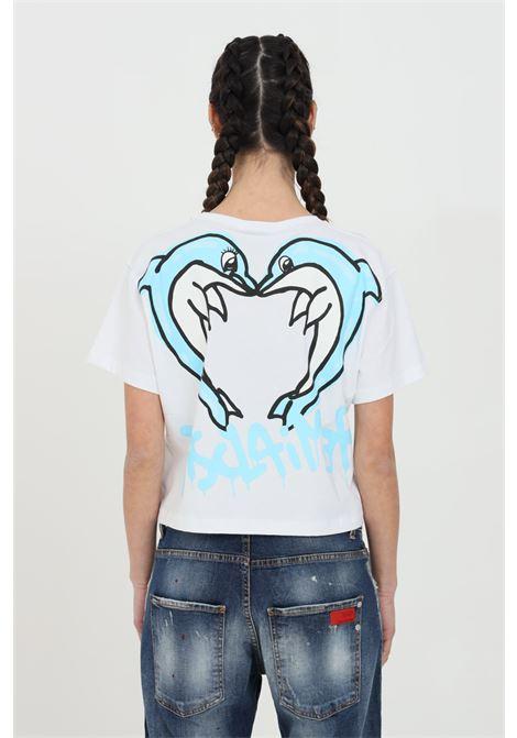 T-shirt donna bianco Disclaimer a manica corta con taglio corto e maxi stampa sul retro DISCLAIMER | T-shirt | 21EDS50637BIANCO