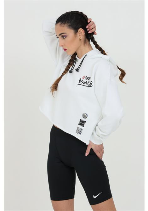 White sweatshirt with short cut and hood with laces. Maxi print on the back in silk-screen printing.Disclaimer DISCLAIMER | Sweatshirt | 21EDS50641BIANCO