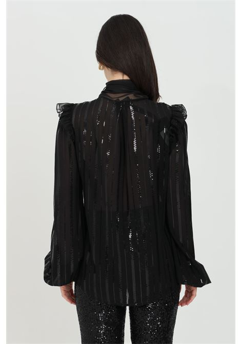 Solid color shirt with transparencies, sequins and embroidery. Tone on tone foulard applied DRAMèE | Shirt | D21009NERO
