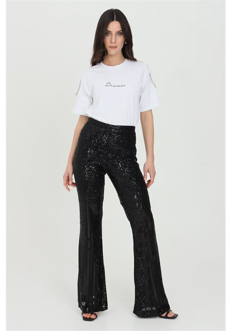 Pants with transparencies and sequin applications, back zip closure DRAMèE | Pants | D21010NERO