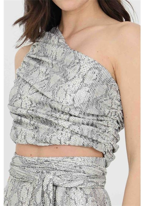 One-shoulder top with lateral curls. Python glitter pattern DRAMèE | Top | D21016.