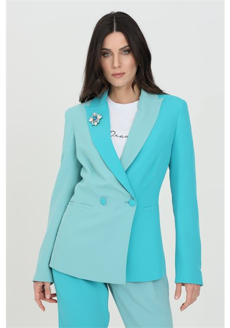 Bicolor jacket with a flower pin DRAMèE | Blazer | D21022.