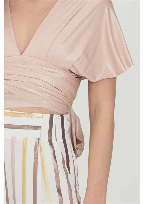 Solid top with upper bands and waistband DRAMèE | Top | D21048CREMA