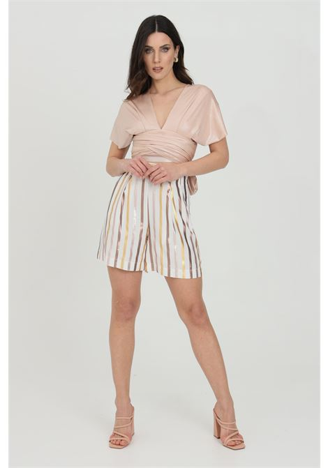 Shorts donna bianco dramee casual con tasche laterali, chiusura con zip laterale DRAMèE | Shorts | D21051.