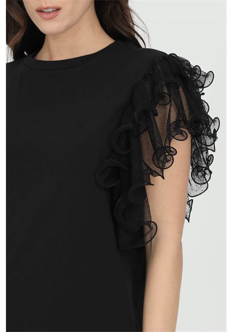 T-shirt with rouches applications on the shoulders  DRAMèE | T-shirt | D21064.