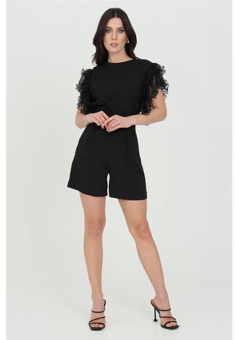 Shorts donna nero dramee elegante chiusura con zip laterale DRAMèE | Shorts | D21071NERO