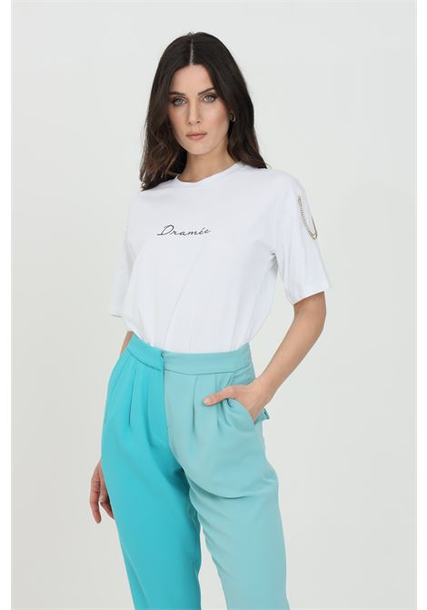 Solid color T-shirt with front embroidered logo and rhinestone applications on the shoulders DRAMèE | T-shirt | D21072.