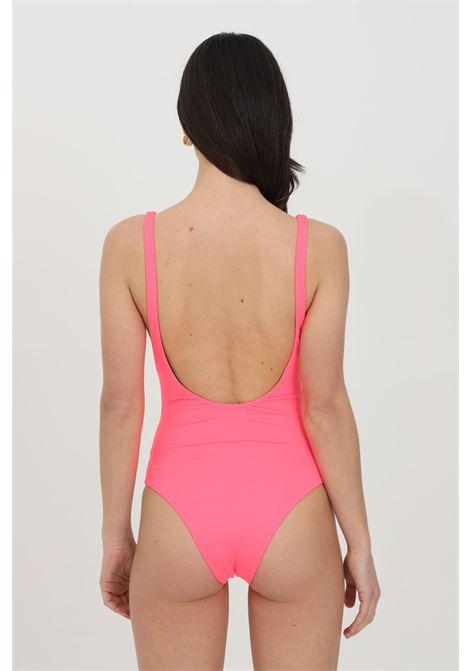Beachwear donna rosa dsquared2 costume intero in tinta unita con maxi stampa frontale a contrasto DSQUARED2 | Beachwear | D6BGC2940670