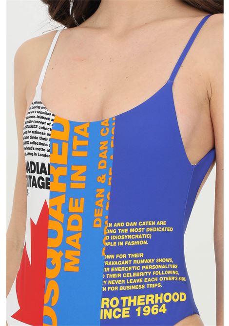 Beachwear donna blu dsquared2 costume intero tricolore con stampa frontale e bretelle sottili DSQUARED2 | Beachwear | D6BGD2970418