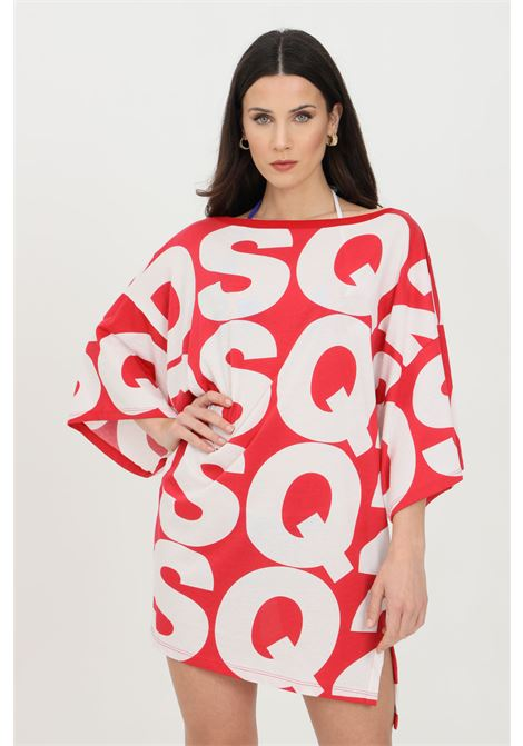 Red swimsuit cover with maxi lettering print. Wide sleeves. Side slit. Dsquared2  DSQUARED2 | Outwater | D6M323020610